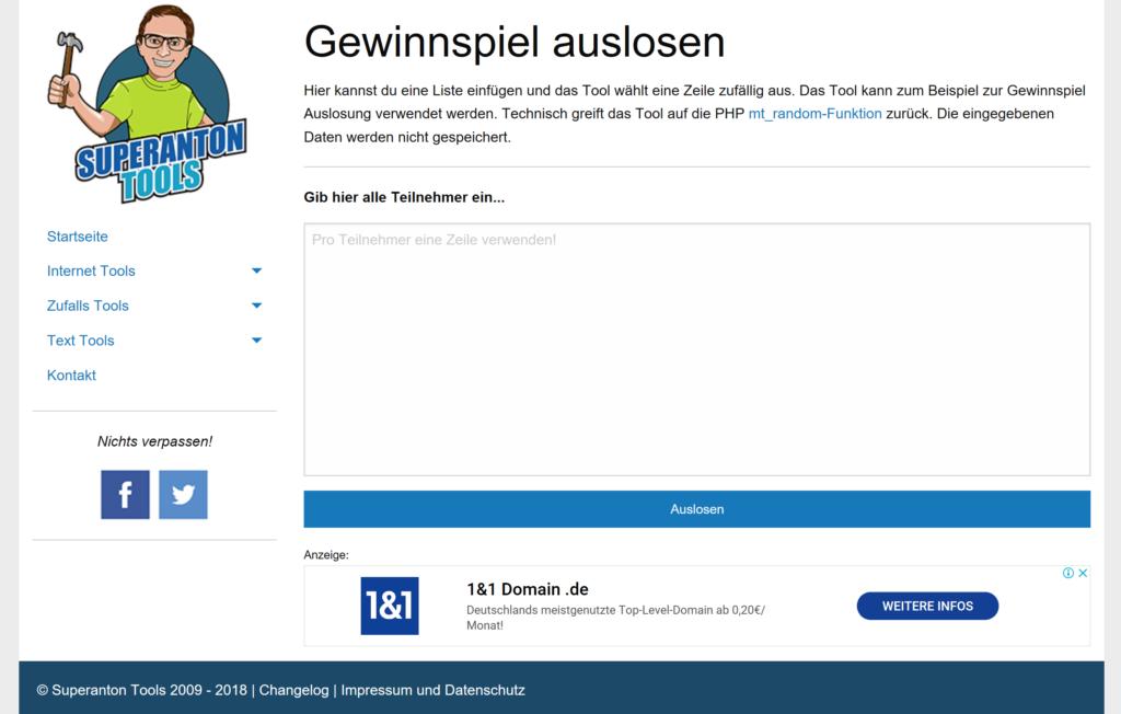 Supertool Anton - eine weiter Facebook Verlosung App